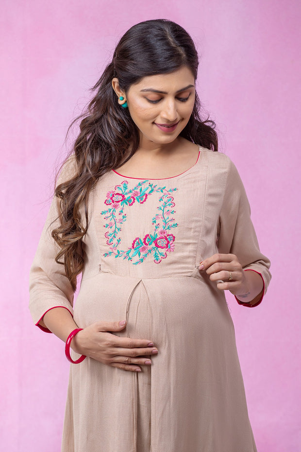 Placement Floral Embroidered Maternity Kurta - Beige