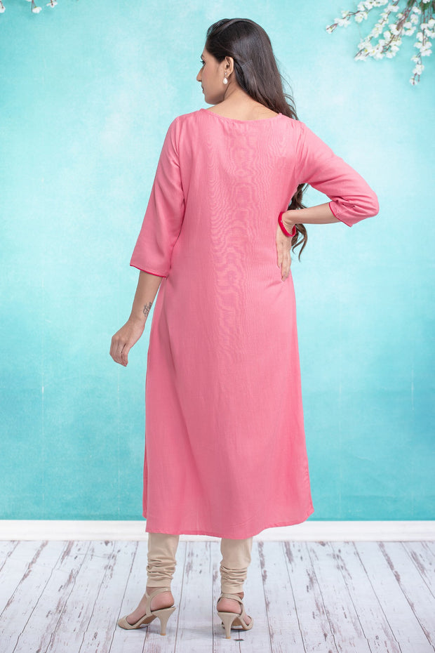 Placement Floral Embroidered Maternity Kurta - Pink