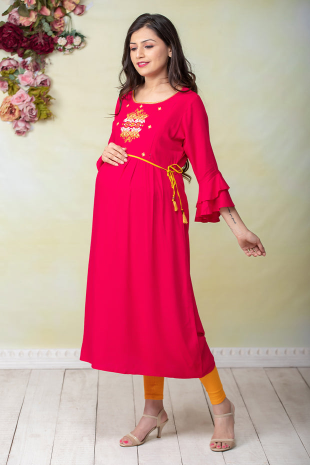 Ethnic Abstract Embroidered Maternity & Nursing Kurta – Pink - Maybell Womens Fashion