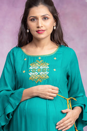 Ethnic Abstract Embroidered Maternity & Nursing Kurta – Green - Maybell Womens Fashion