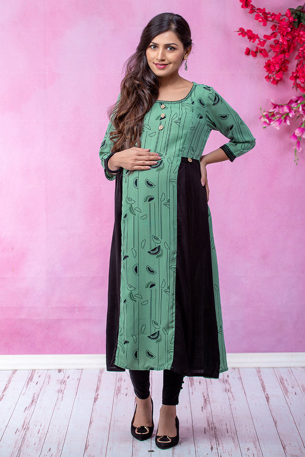 Line Abstract Printed Maternity & Nursing Kurta – Green - Maybell Womens Fashion