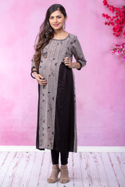 Line Abstract Printed Maternity & Nursing Kurta – Grey - Maybell Womens Fashion