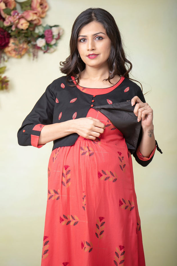 Quirky leaf printed maternity kurta - Orange