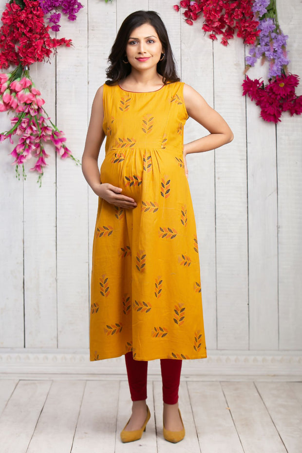 Quirky leaf printed maternity kurta - Mustard