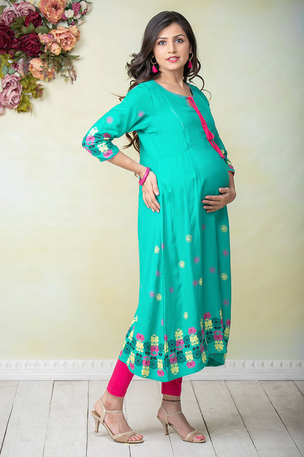 Abstract Floral Placement Printed Maternity & Nursing Kurta – Green - Maybell Womens Fashion