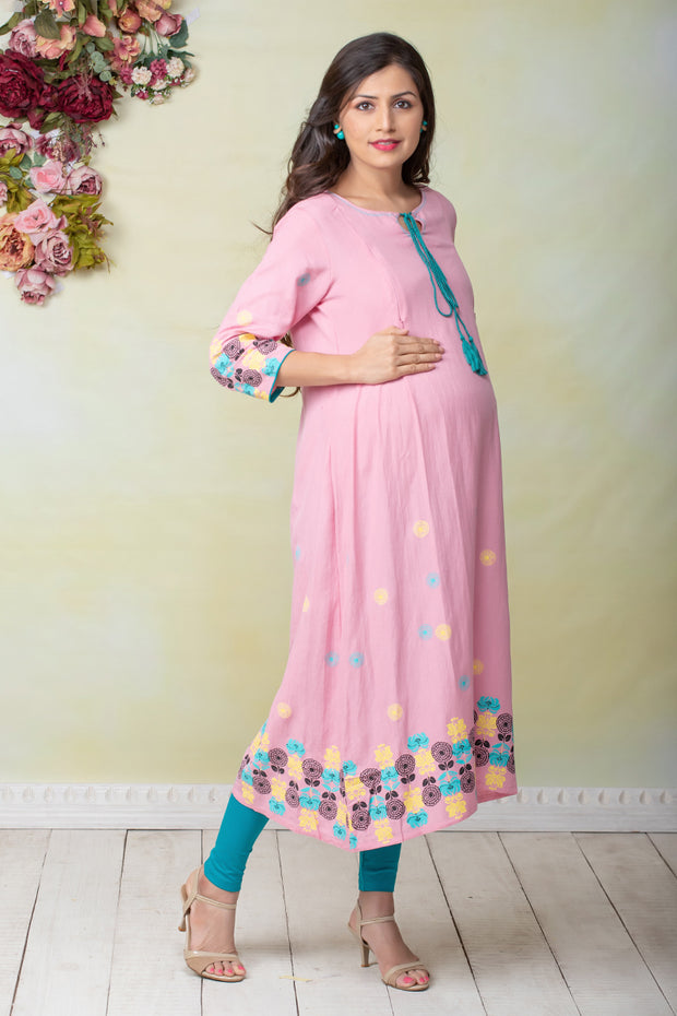 Abstract Floral Placement Printed Maternity & Nursing Kurta – Pink - Maybell Womens Fashion