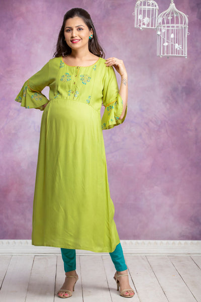 Botanical Floral Printed Maternity Kurta - Lime Green