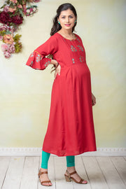 Botanical Floral Printed Maternity Kurta - Red