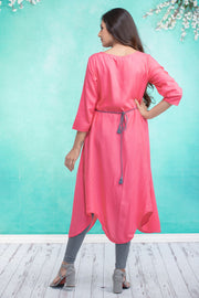 Damask floral embroidered maternity kurta - Pink