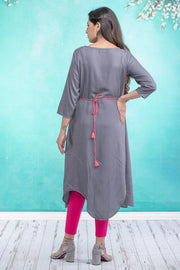 Damask floral embroidered maternity kurta - Grey
