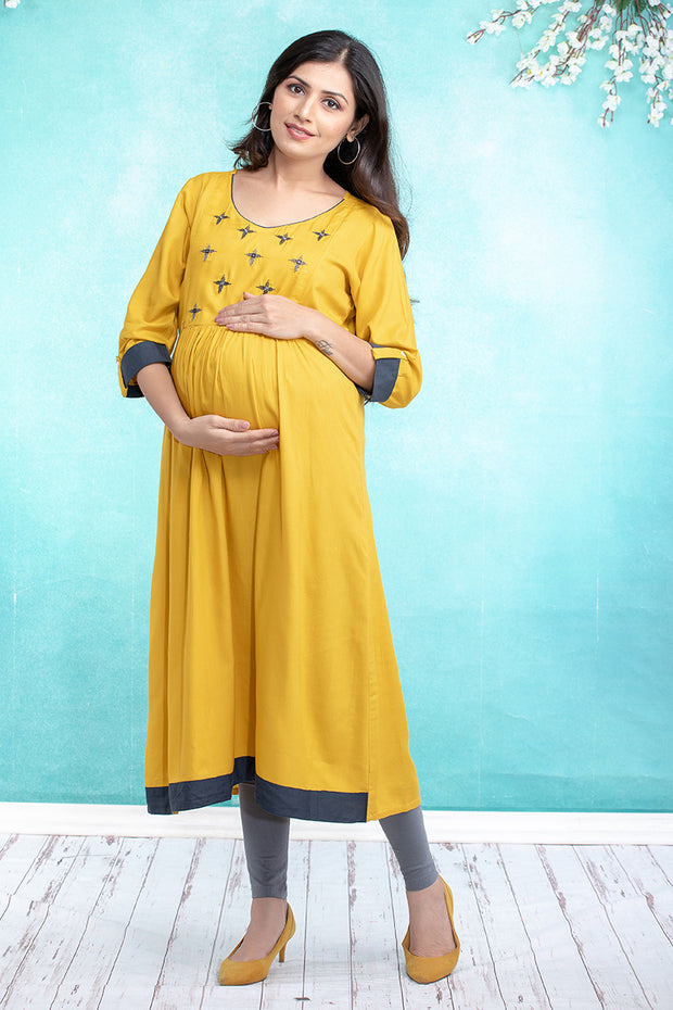 Geometric Floral Embroidered Maternity & Nursing Kurta – Yellow - Maybell Womens Fashion