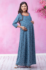 All Over Pretty Floral Printed Maternity & Nursing Maxi Dress – Blue - Maybell Womens Fashion