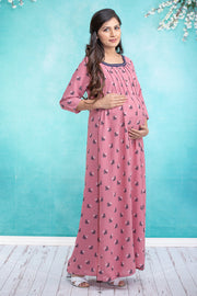 All Over Pretty Floral Printed Maternity & Nursing Maxi Dress – Pink - Maybell Womens Fashion