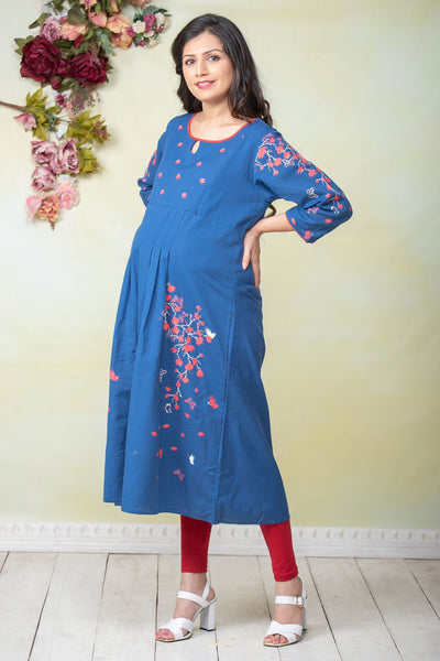 Placement Floral Printed Maternity Kurta - Blue