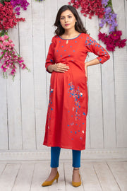 Placement Floral Printed Maternity Kurta - Red
