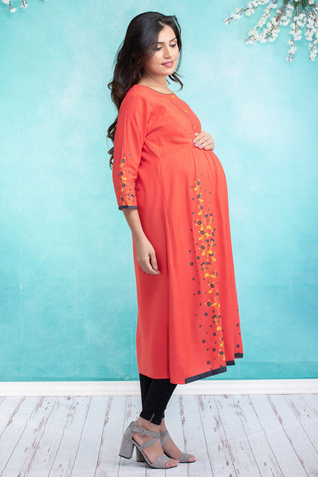 Vine floral printed maternity kurta - Orange