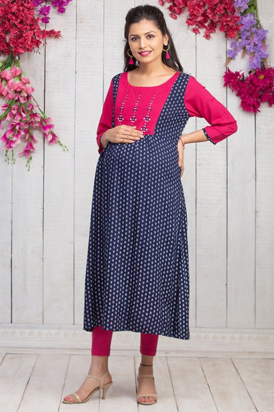 Abstract Geometric Printed Maternity & Nursing Kurta – Navy Blue - Maybell Womens Fashion