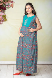 Kantha Floral Detail Maternity & Nursing Maxi Dress With Waistcoat – Grey - Maybell Womens Fashion