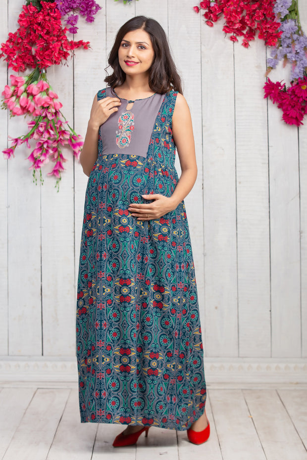 Kantha Floral Detail Maternity & Nursing Maxi Dress With Waistcoat – Navy Blue - Maybell Womens Fashion
