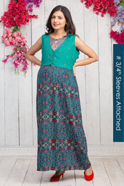 Kantha Floral Detail Maternity & Nursing Maxi Dress With Waistcoat – Navy Blue