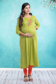 Butterfly Embroidered Maternity & Nursing Kurta – Green - Maybell Womens Fashion