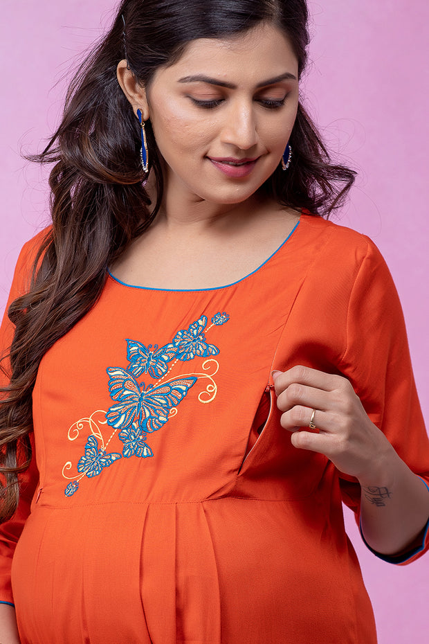 Butterfly Embroidered Maternity & Nursing Kurta – Orange - Maybell Womens Fashion