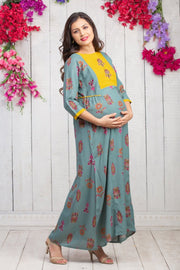 All Over Floral Printed Maternity & Nursing Maxi Dress – Green - Maybell Womens Fashion