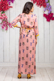 All Over Floral Printed Maternity & Nursing Maxi Dress – Pink - Maybell Womens Fashion