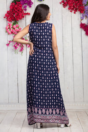 All Over Ethnic Floral Printed Maternity & Nursing Maxi Dress – Navy Blue - Maybell Womens Fashion