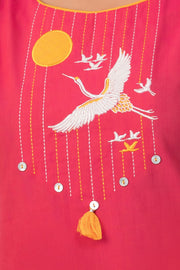 Maybell-Japanese crane embroidered kurta - Pink-5