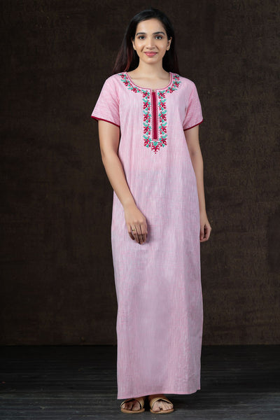 Floral Embroidery with Slub Cotton Nighty Wear - Pink