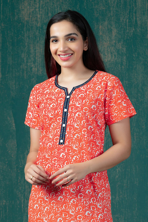 All Over Batik Printed Nighty Wear - Orange