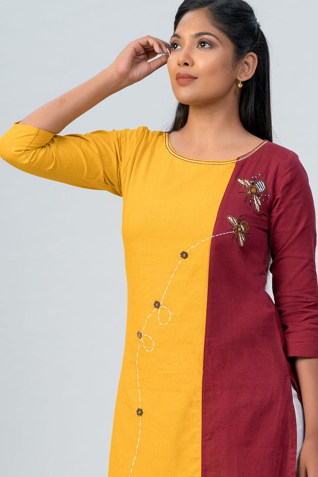 Maybell-Floral printed and honeybee embroidered kurta -Mustard and maroon-4