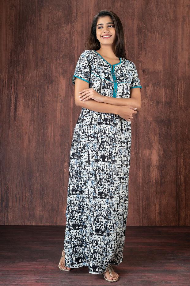 All over distress print nightwear - Black