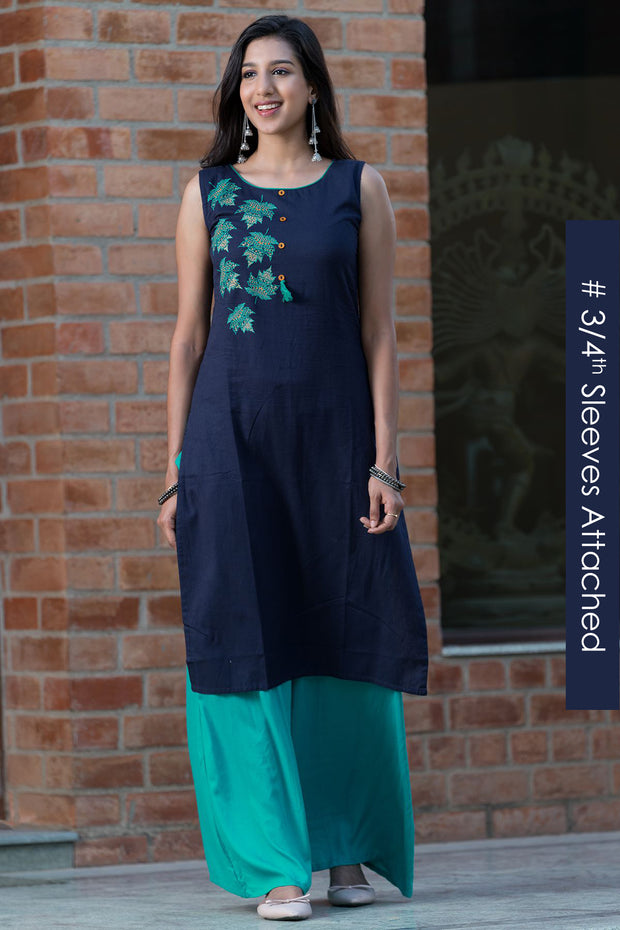 Bohemian maple leaf placement printed kurta – Navy blue