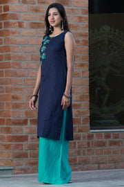 Bohemian maple leaf placement printed kurta – Navy blue - Maybell Womens Fashion