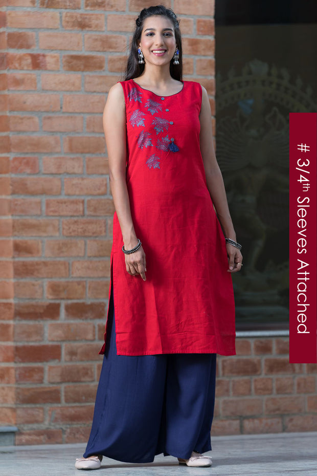 Bohemian maple leaf placement printed kurta – Red