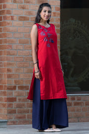 Bohemian maple leaf placement printed kurta – Red - Maybell Womens Fashion