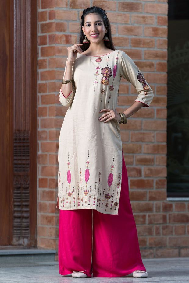 Contemporary Kathakali Placement Printed Kurta – Beige - Maybell Womens Fashion