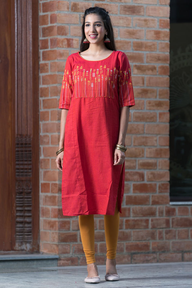 Placement floral printed kurta – Red - Maybell Womens Fashion