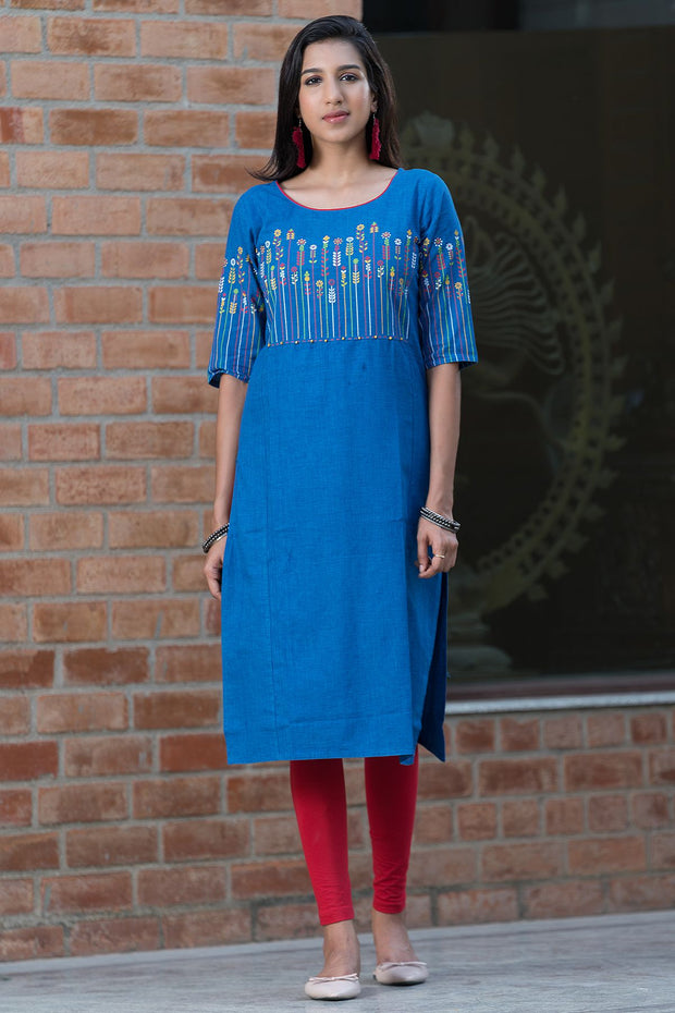 Placement floral printed kurta – Royal blue - Maybell Womens Fashion