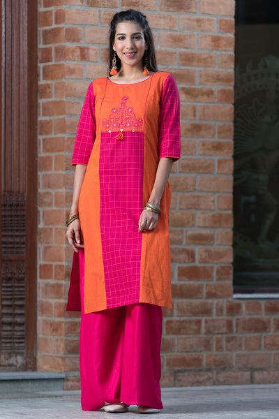 Colourblock Checked Mix and Match Kurta – Pink - Maybell Womens Fashion