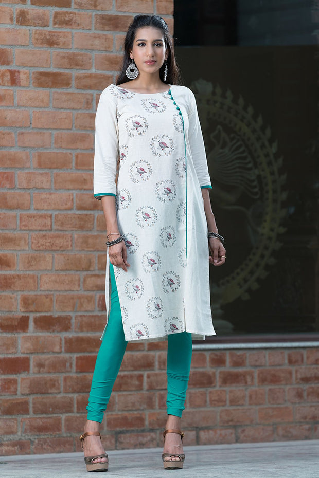 All Over Chirpy Bird Print Kurta – Green - Maybell Womens Fashion