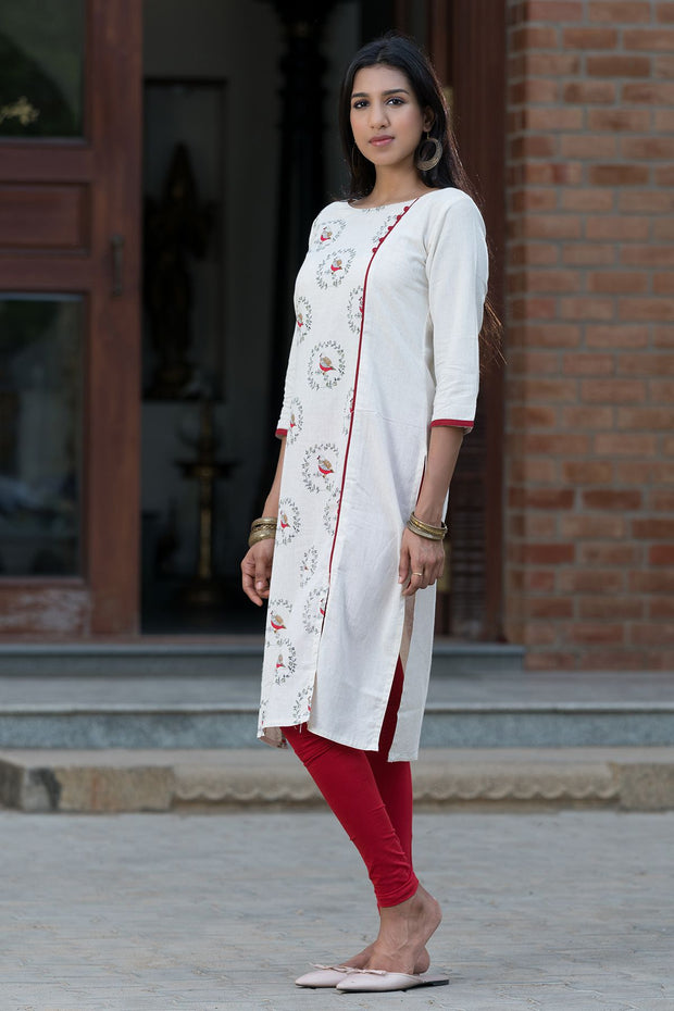 All Over Chirpy Bird Print Kurta – Red - Maybell Womens Fashion