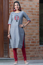 Placement Floral Embroidered Kurta - Ash Grey - Maybell Womens Fashion
