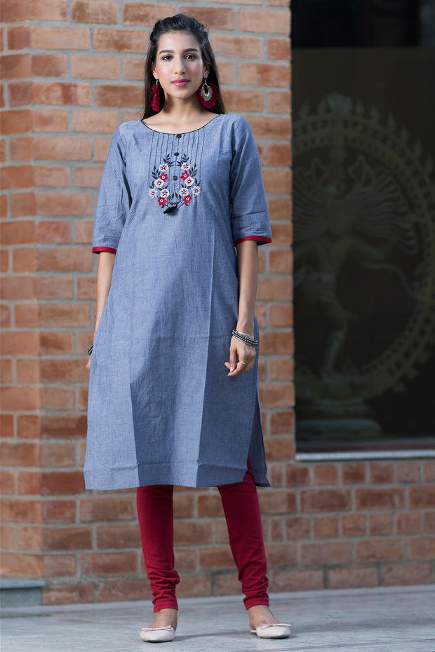 Placement Floral Embroidered Kurta - Ash Blue - Maybell Womens Fashion