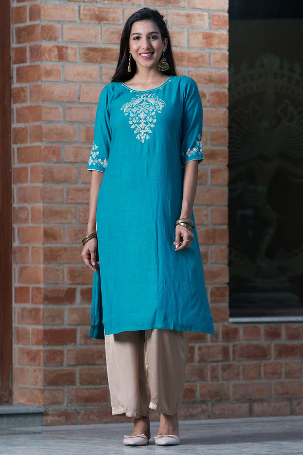 Placement printed kurta with mirror embroidery – Sky Blue - Maybell Womens Fashion