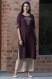 Placement printed kurta with mirror embroidery – Burgundy - Maybell Womens Fashion