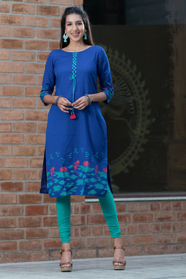 Placement printed kurta with tie-up – Royal blue - Maybell Womens Fashion