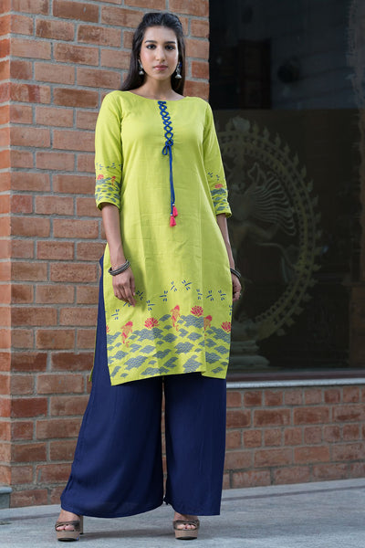 Placement printed kurta with tie-up – Lime - Maybell Womens Fashion